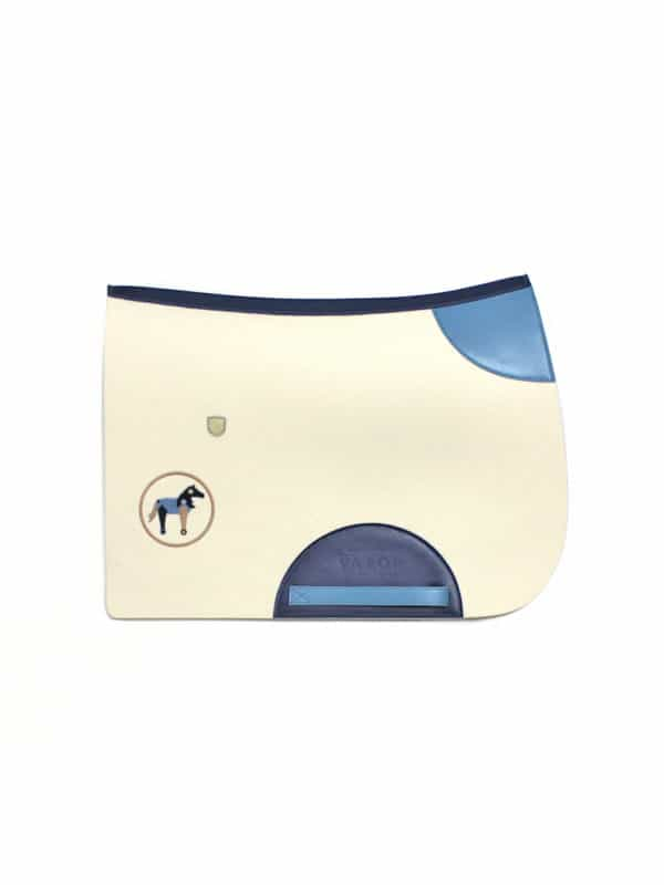 white and blue personalised wool saddle pad for a boy