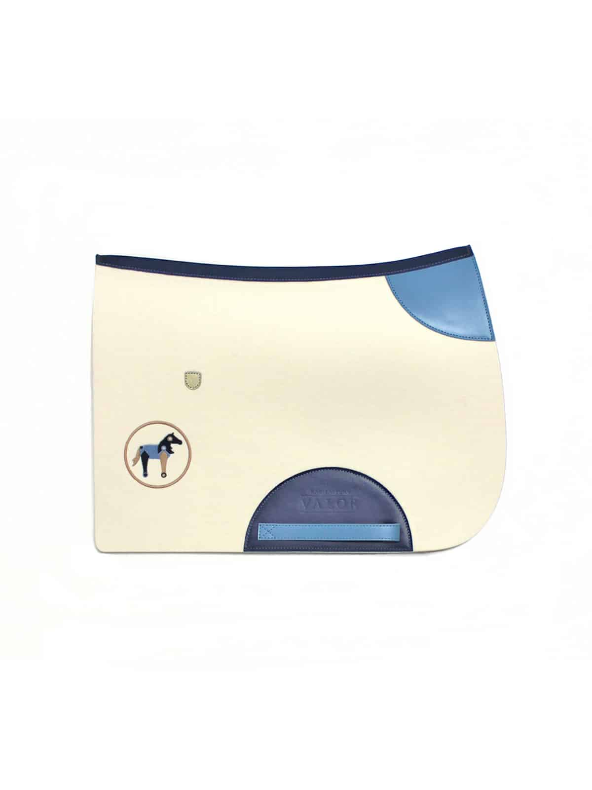 white and blue wool saddle pad for a boy