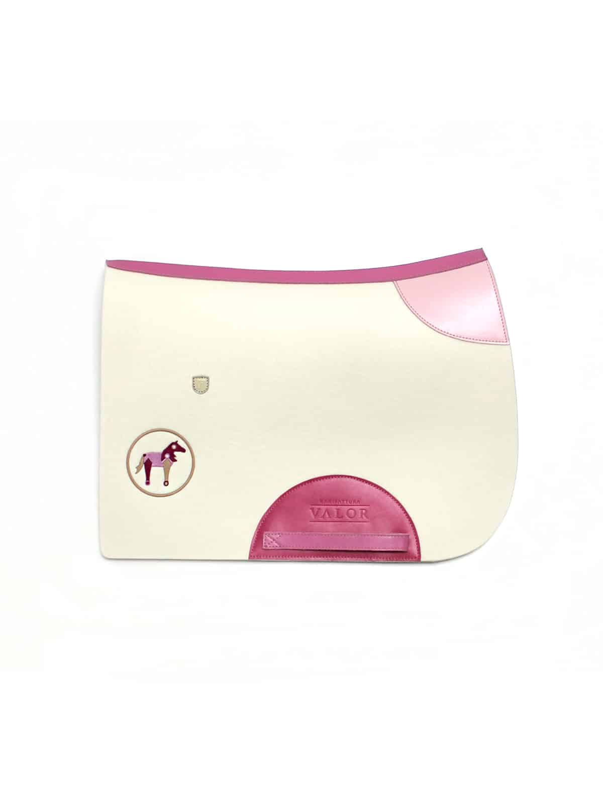 pink personalised wool saddle pad for a girl